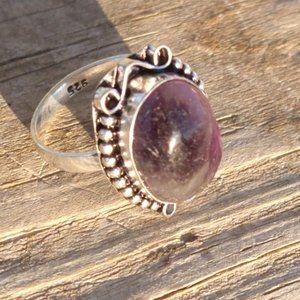 Genuine Amethyst Gemstone Silver 925 Ring Size 6.5